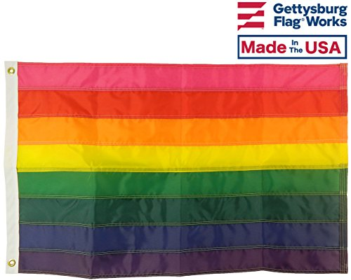 3×5′ Original 8 Stripe Rainbow Pride Outdoor Nylon Flag, All Weather Nylon for Outdoor, Stitched Stripes, Made In USA
