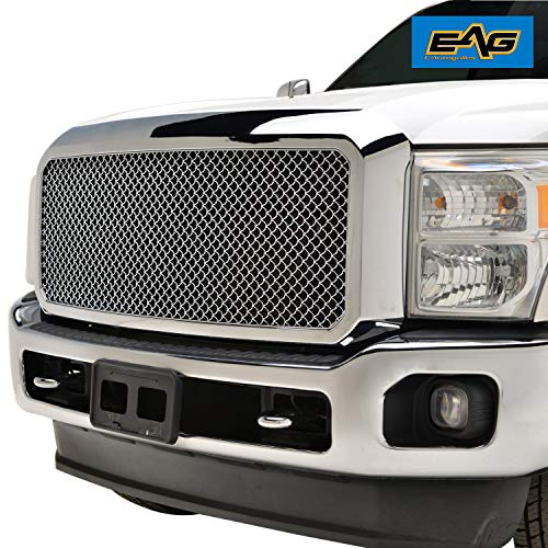 EAG Mesh Front Grille ABS Replacement Upper Grill with Shell Chrome Fit for 11-16 Ford F250/F350 Super - Chrome Grill Shell