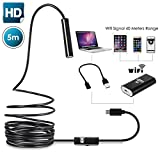 Wireless Endoscope Wallfire Semi-rigid Wifi Borescope for iphone PC android smartphone Inspection Camera 2.0 Megapixels CMOS HD Waterproof Snake Camera with 8 Adjustable Led Light - 16.4 ft(5 Meter)