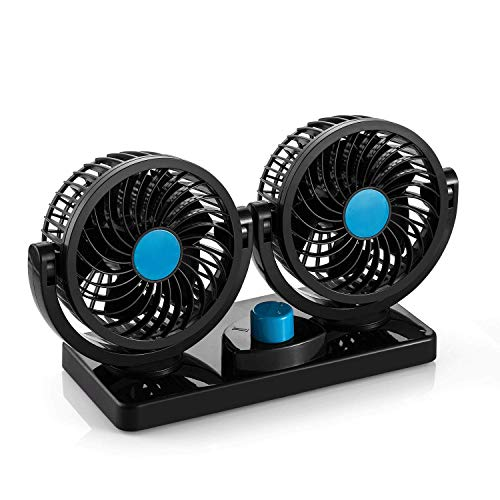 AboveTEK Dual Head Car Fan - 12V DC Electric 2 Speed Fans, Quiet Strong Dashboard Cooling Fan for Sedan SUV RV Boat Auto Vehicles or Home