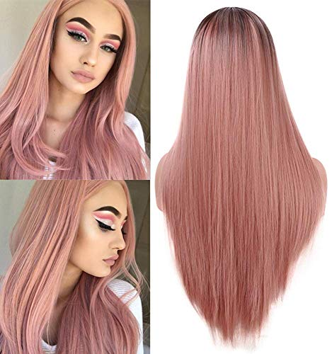 Fani Fashion Orange Pink Women's Wigs Silk Straight Ombre Pink Wig 22 Inch Dark Brown Roots Non-Lace Front Middle Part Synthetic Cosplay Halloween Wig (Silk Top Lace Wig With Hidden Knots)