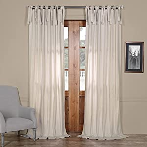 PRCT-S02B-96-TT Solid Cotton Tie-Top Curtain, Hazelwood Beige, 50 x 96