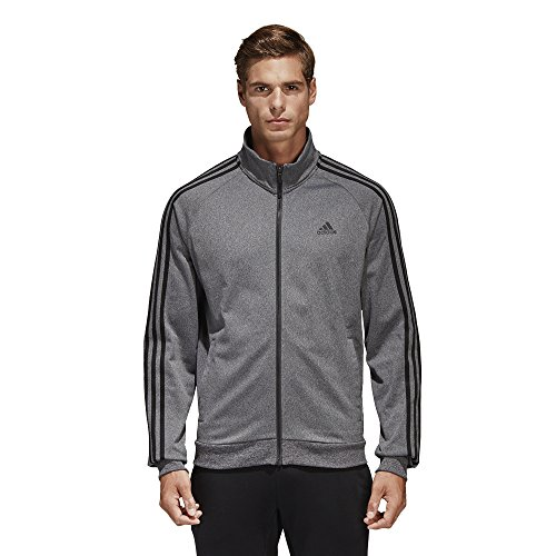 - adidas Men's Essentials 3-Stripe Tricot Track Jacket, Dark Grey/Black, Large