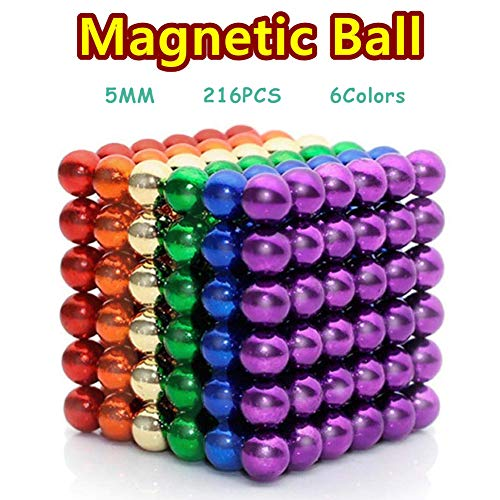 RAINBEAN 6Colors 216Pcs Magnet Building Blocks Toy for Intelligence Learning Creative Education Toy,Desk Sculpture Toy Perfect for Crafts,Magnetized Fidget Cube Provides Relief for Anxiety,ADHD,Autism
