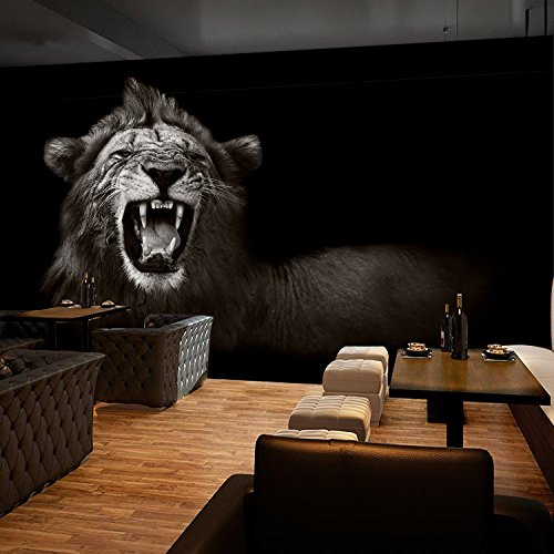 - 3D Black Lion Photo 52 Wall Paper Wall Print Decal Wall Deco Indoor wall Murals Removable Wall Mural | Self-adhesive Large Wallpaper , AJ WALLPAPER Carly (39
