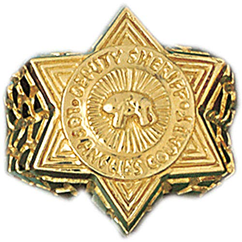 - Jewels Obsession Police Badge Men's Rings | 14K Yellow Gold Police Badge Men's Ring - Made in USA (Custom Sizes Available 4-11)