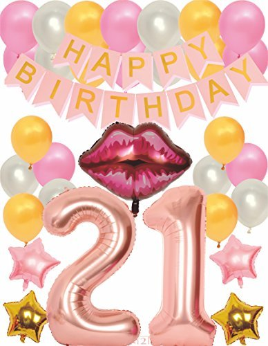 Rosa 21st BIRTHDAY PARTY DECORATIONS KIT - Rosa 21st Birthday Decoration Party Supplies, 21st Birthday Balloons Rose, 21st Birthday Banner, Gold and Rosa 21st Birthday Party, Rosa Number -