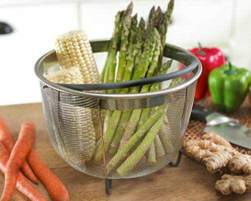 Hatrigo Steamer Basket for Instant Pot Accessories 8 qt [3qt 6qt Avail] fits InstaPot, Ninja Foodi, Other Pressure Cookers, Strainer Insert for Insta Pot Ultra, Silicone Handle, for Instant Pot 8 Qt