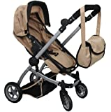Babyboo SAND Deluxe 2 in 1 Doll Pram/Stroller with Swiveling Wheels Color SAND & BLACK with Swiveling Wheels & Adjustable Handle and Free Carriage Bag - 9651BSAND