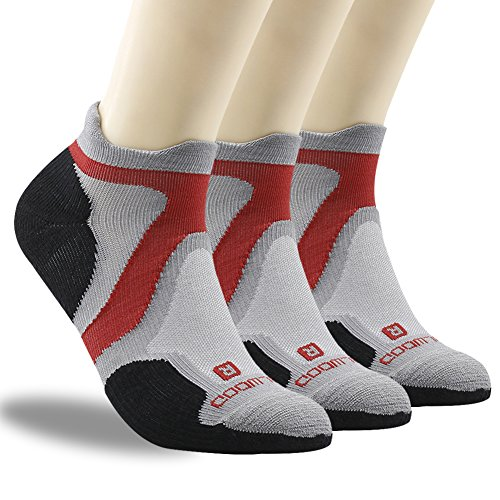 Men Running Socks, ZEALWOOD Quick Lyte Cushion Single Tab Socks, Low Cut Hiking Socks, Dry Fit Socks Pack of 3, Ultra Running Apparel, Cushion Low Cut Wool Athletic Gift Socks-Grey/Black,Large