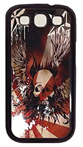 Winged Skull PC Case Cover Compatible with Samsung Galaxy S3 S III I9300 Black