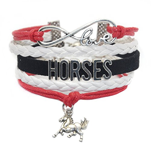 Hhhbeauty Horse Bracelet Leather Infinity Girls Horse Charm Bracelet Friendship Gift For Women Grils Men Includig Infinity Love Charm  Letter  Horse Charm  Red White And Black
