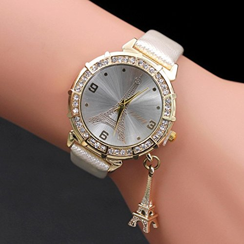 Wrist The Eiffel Tower Rhinestone Pendant Wrist Watch With Buckle 24CM Band Length (A) ()