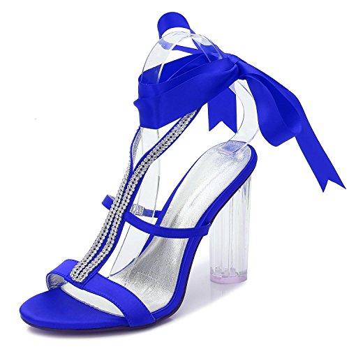 crystal Para Toe F2615 Honor Dama Boda yc Blue Silk Plataforma 6 De Zapatos noche Mujer L Ribbon Pumps wvIaYxHqUv