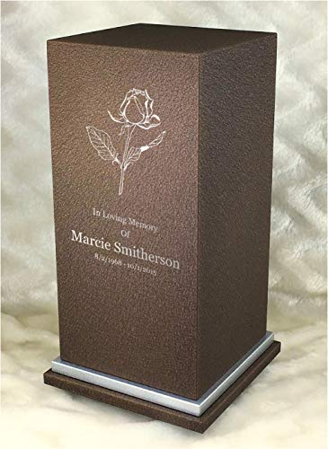 Personalized Custom Engraved Single Rose Cremation Urn Vault by Amaranthine Urns, Made in The USA, Eaton SE Painted Silver (up to 200 lbs Living Weight) (Cast Bronze)