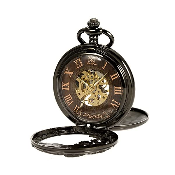 ManChDa Mens Antique Skeleton Mechanical Pocket Watch with Chain- Dragon Hollow Hunter 6