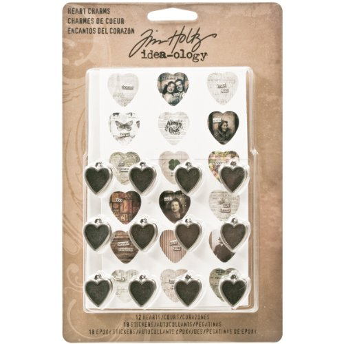Metal Heart Charms by Tim Holtz Idea-ology, 12 per Pack, 3/4-Inch, 36 Stickers, Antique Nickel Finish, TH93132