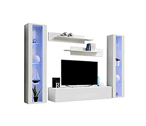 MEBLE FURNITURE & RUGS Wall Mounted Floating Modern Entertainment Center Fly A (White, B2)