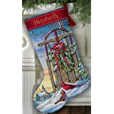 Dimensions 8819 Gold Collection Christmas Sled Stocking Counted Cross Stitch-16'' Long 16 Count