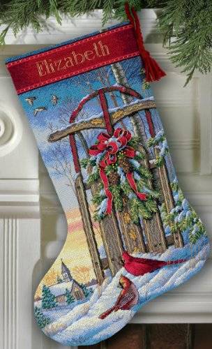 Dimensions Gold Collection Christmas Sled Stocking Counted Cross Stitch-16 Long ()
