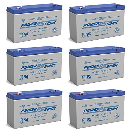 PS-6100 6V 12AH F1 Rechargeable Battery - 6 Pack (Best 6 Volt Golf Cart Batteries)