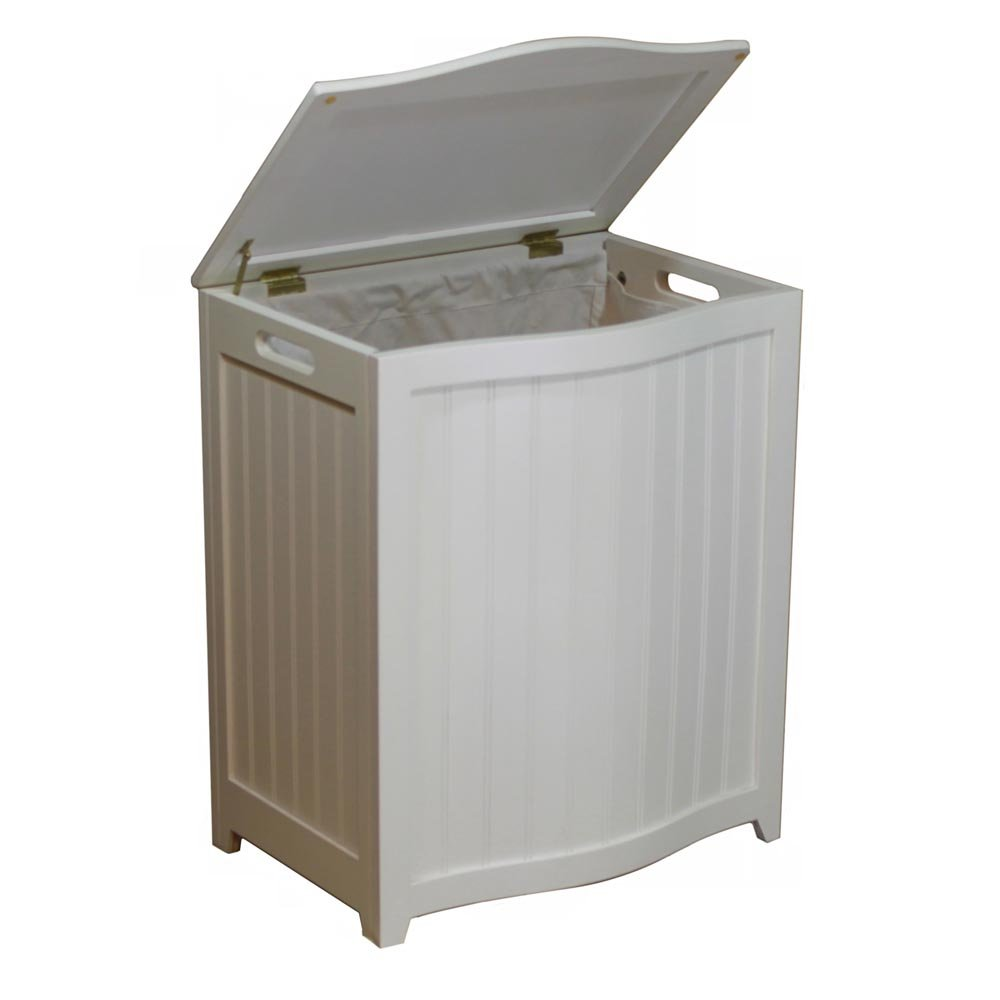 Great Amazon.com: Wood Laundry Hamper With Interior Bag In White Finish: Home U0026  Kitchen
