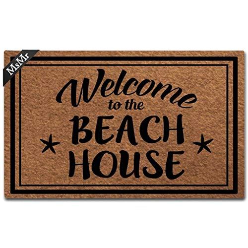 MsMr Funny Doormat Entrance Floor Mat Welcome to The Beach House Unique Design Decorative Indoor Outdoor Door Mat Non-Woven Fabric Top 18x30 Inch