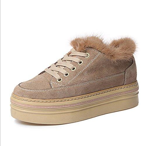 Schuhe gekleidet im wilden Baumwollschuhe Winter plus dicke Plüschschuhe Frau Vorstands Samt Sand wachsen HGTYU Studenten Kunstleder beiläufige des koreanische Version wt71WI
