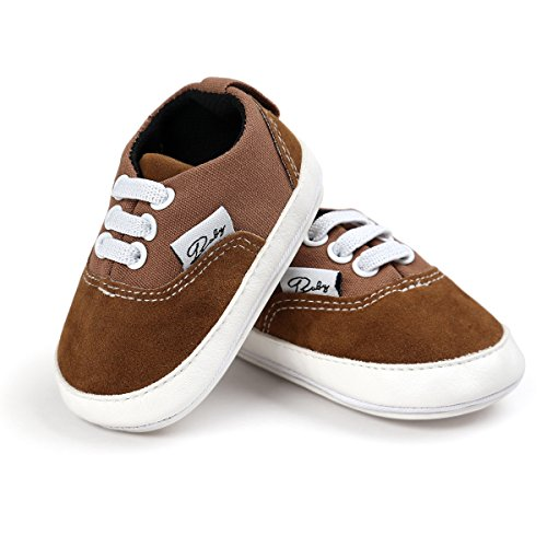 - Meckior Infant Baby Boys Girls Canvas Toddler Sneakers Rubber Anti-Slip First Walkers Candy Shoes (6-12 Months, B-Brown)