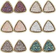 Lullabb 6 Pairs Women Crystal Druse Stud Earrings Hypoallergenic Geometry Shiny Druzy Ear-ring Men boys Fashio