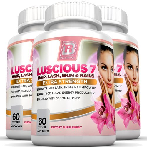 BRI Nutrition Luscious 7 - Hair Lash Skin and Nails Formula Growth Booster Supplement - 60 count each, 3-Pack Vegetarian Capsules - With Vitamins and Minerals by BRI Nutrition