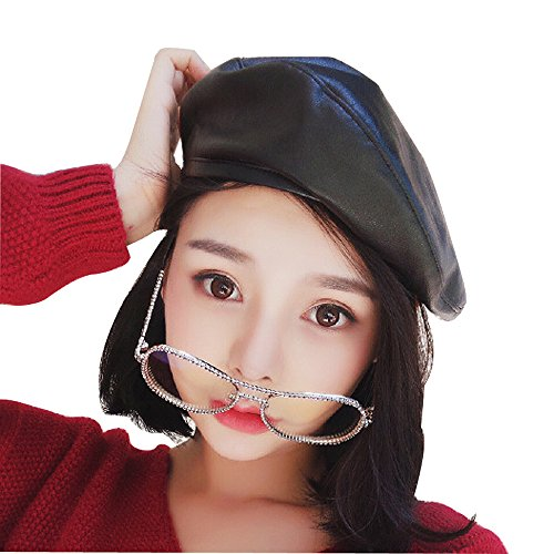 Faux Leather Beret Solid Plain Flat Top PU Berets Fashion French Style Painters Hat Cap, Black