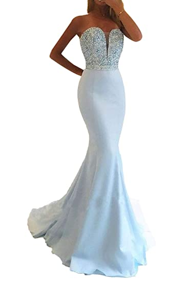 4c5a1ae6fbec Promworld Women's Strapless Evening Dress Beaded Sweetheart Mermaid Prom  Dresses Long: Amazon.co.uk: Clothing