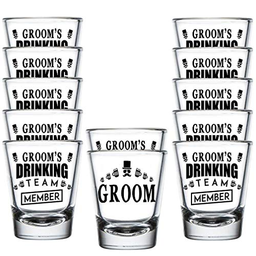 Shop4Ever Groom and Groom's Drinking Team Member Shot Glasses ~ Bachelor Party Favors ~ (12 Pack)