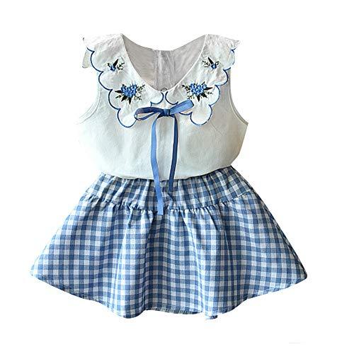 Baby Clothing Kids Summer Clothes Girls Flower Printing Vest + Pure Color Pants Children Clothing Set (Blue-c, 2-3T)