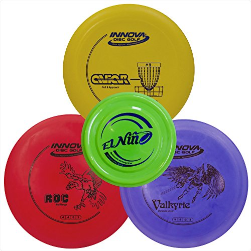 Driven Disc Golf Set - 3 Disc Starter Kit - Perfect Bundle for Beginners - FREE Mini Disc + Innova Driver, Midrange, and Putter - Fun Outdoor Game for Kids - Mid Roc Disc Golf Range