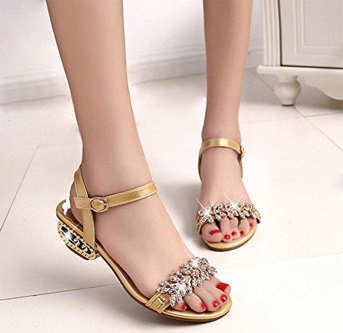 sandalias de verano sandalias de tacón bajo de diamantes de imitación de las mujeres sandalias planas y zapatillas, grueso con zapatos abiertos Sra. dorado