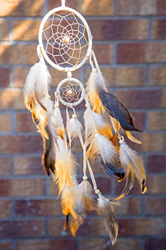 """INCENSELABS Double Handmade Dream Catcher, Two Circles, one Measures 4.5"""" and The Other one is 2""""; Followed by a 20 to 22-inch Feather String"""