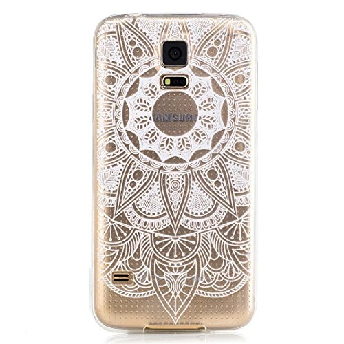 KSHOP Accessory for Samsung Galaxy S5 Case Cover Bumper Shell Soft TPU Silicone Transparent Clear Ultra Slim Skin Shell Anti-scratch Protective Bumper-White Sunflower
