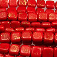 Czechmate 6mm Square Glass Czech Two Hole Tile Bead - Opaque Red/Marbled Gold