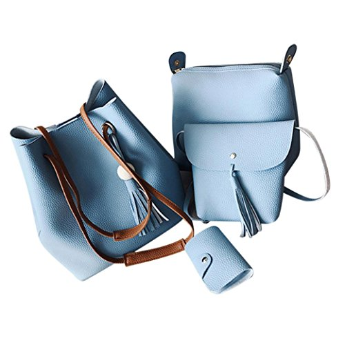 Women Card 4Pcs Holder Shoulder Blue Small Handbags Bag Artificial Leather Sky Bucket Tassel HCFKJ Retro zHq1wx8z