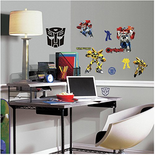 20 Piece Kids Yellow Red Blue Transformers Wall Decals Set, Cartoon Themed Wall Stickers Peel Stick, Fun Robots in Disguise Autobots Bumblebee Optimus Prime Movie Decorative Graphic Mural Art, Vinyl - Disguise Stick