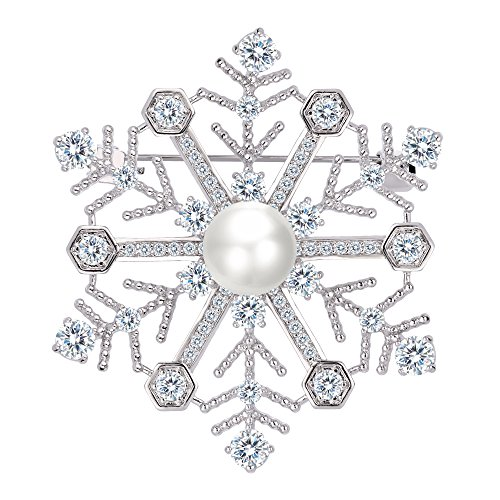 EleQueen Women's Silver-tone CZ White Simulated Pearl Winter Snowflake Bridal Brooch Pendant Clear by EleQueen
