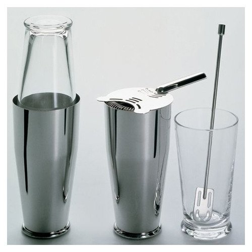 Alessi Ettore Sottsass 4 Piece Bar Tools Set - Stainless Drinkware Set of Shaker Bar Strainer Cocktail Measure and Stirrer- Barware Accessory Collection For your Next Outdoor Dinner Party by Unknown