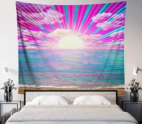 Lucid Eye Vaporwave Beach Tapestry, Psychedelic Neon Sun Wall Hanging, Pink and Blue Wall Art for Bedroom Living Room Dorm, Large 84×72 inches