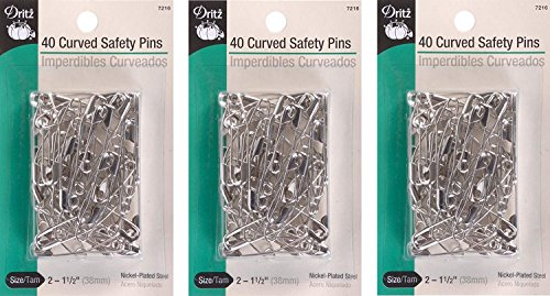 Dritz Quilting Basting Pins - Dritz Size 2 Curved Safety Pins are just The Right Angle for Easy Penetration of Quilt Layers with No Shifting. Size 2 is Recommended for high loft Batting. Nickel-Plated Steel, 40 Ct. (3 Pack)