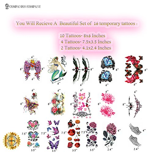 Realistic Ink Temporary Tattoos Kit- for Woman and Girls- 16 Colorful Sheets by Companion Company by Companion Company (Image #1)