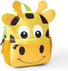 Toddler Backpack, Waterproof Children School Backpack, Neoprene Animal Schoolbag for Kids, Lunch Box Carry Bag for Boys Girls (Giraffe_M)
