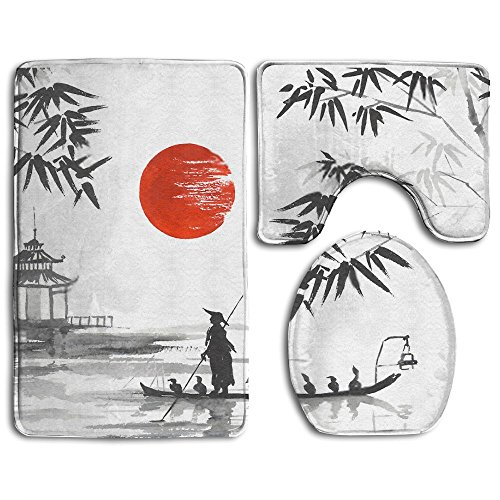 Feimao Japan Traditional Japanese Painting 3PC Non Skid Bathroom Rug Set With Bath Rug Contour Rug Toilet Lid Cover