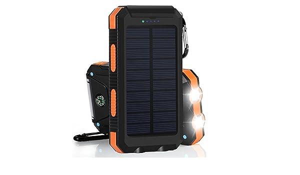 Cargador solar, Panel Solar portátil 8000 mAh Dual USB cargador de batería solar Power Bank Cargador de teléfono con luz LED: Amazon.es: Electrónica